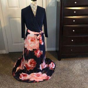 3/4 sleeve floral maxi dress 👗